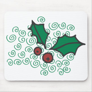 Modern Red and Green Christmas Holly Design Mouse Pad