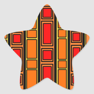 Modern red and orange rectangles on yellow sticker