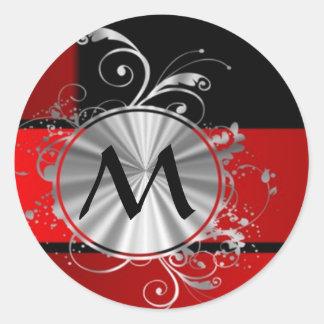 Modern red and silver monogrammed round sticker
