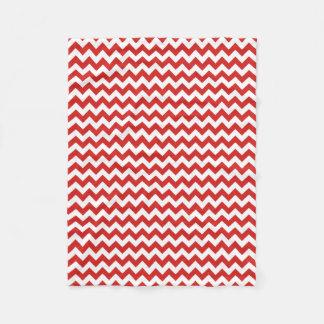 Modern Red and White Chevron Zigzag Fleece Blanket