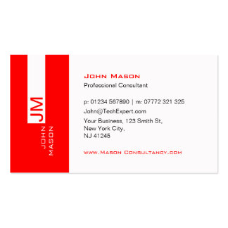 Modern Red and White Consultant - Business Card