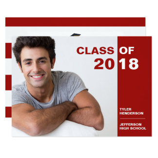 Modern Red and White Graduation Photo Party Invite