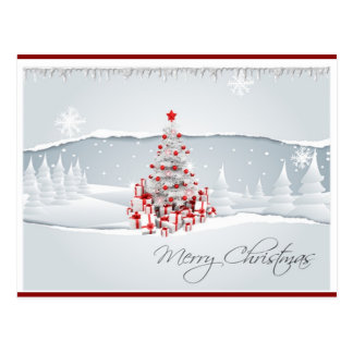 Modern Red and White Holiday Christmas Postcard