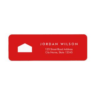 Modern Red and White House Return Address Return Address Label