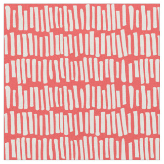 Modern Red and White Line Pattern Fabric