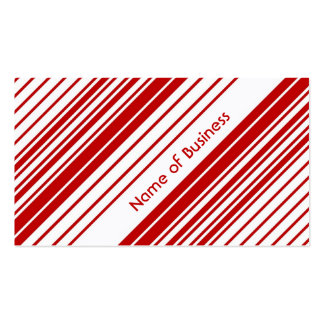 Modern Red and White Peppermint Candy Stripes Business Card