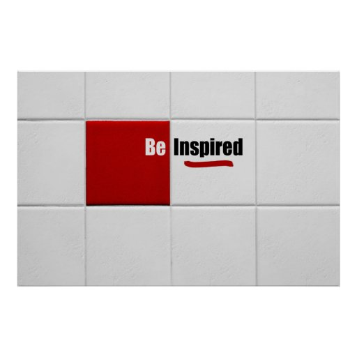Modern Red And White Tiles Positive Affirmations Posters