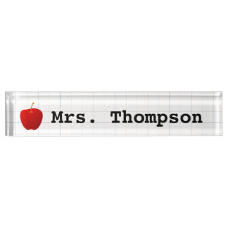 Modern Red Apple Teacher Nameplate