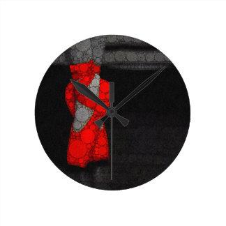 Modern Red Ballet Shoes Round Clock