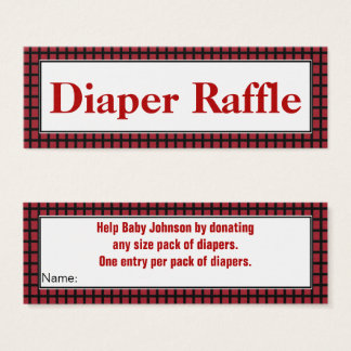 Modern Red,Black and White Diaper Raffle Mini Business Card