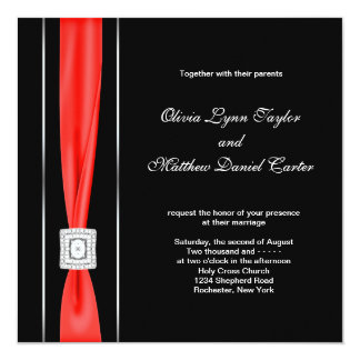 Modern Red Black Black Wedding Card