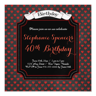 Modern Red Black Hearts Magnetic Birthday Magnetic Card
