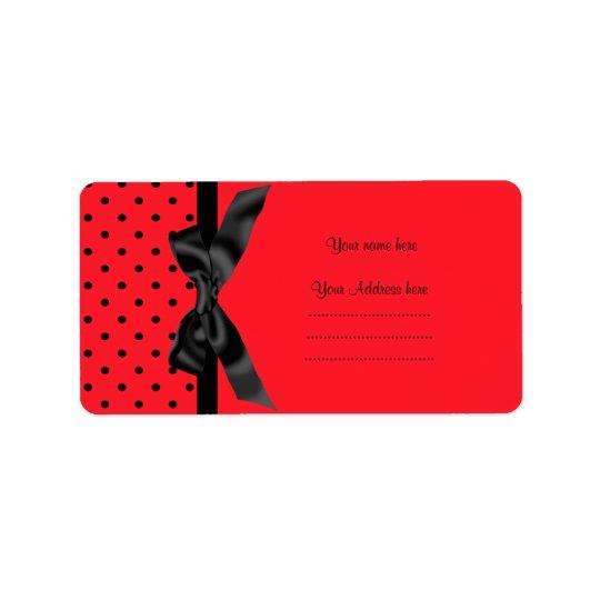 MODERN RED BLACK POLKA DOT ADDRESS LABEL