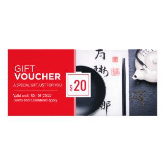 Modern red black restaurant gift voucher template custom rack cards