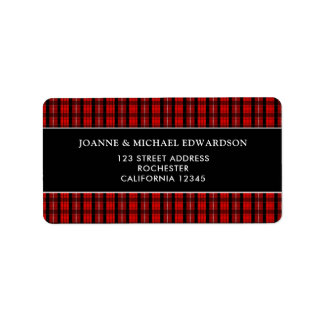 Modern red black Scottish tartan return address Label