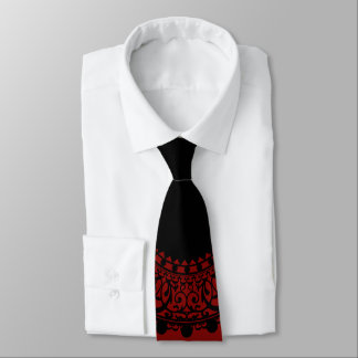 Modern Red & Black Victorian Lace Design Tie