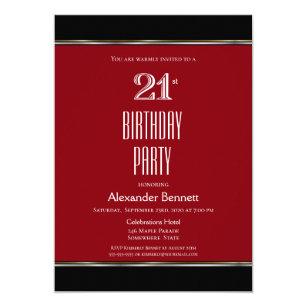red and black 21st birthday invitations zazzle au