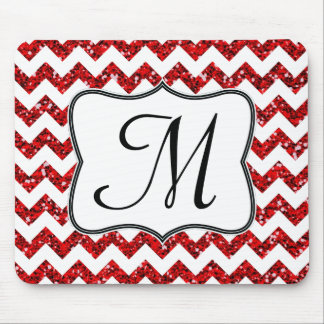 Modern Red Chevron Monogram Initial Mouse Pad