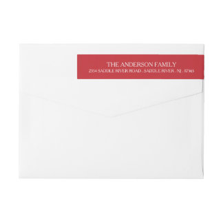 Modern Red Christmas Monogram Address Wrap Around Label