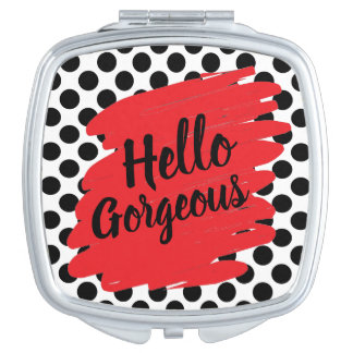 Modern Red Daub and Black Polka Dot Compact Mirror