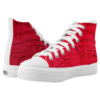 Modern Red Design on High Tops Printed Shoes