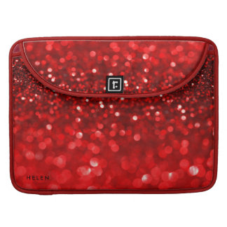 Modern Red Faux Glitter & Sparkles Sleeve For MacBook Pro