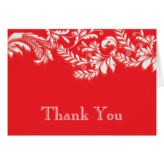 Modern Red Floral Leaf Flourish Thank You Note Note Card