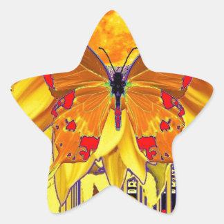 Modern Red-Gold Butterfly Art Design Star Sticker