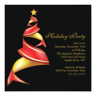Modern Red & Gold Tree Holiday Christmas Party 13 Cm X 13 Cm Square Invitation Card