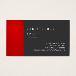 Modern Red Gray Unique Standard Business Card