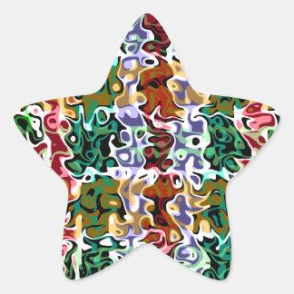 Modern red green brown psychedelic swirls star sticker