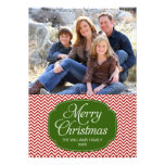 Modern Red Green Chevron Christmas Photo Card Personalised Announcement