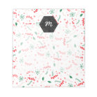 Modern red green pink Christmas floral pattern Notepad
