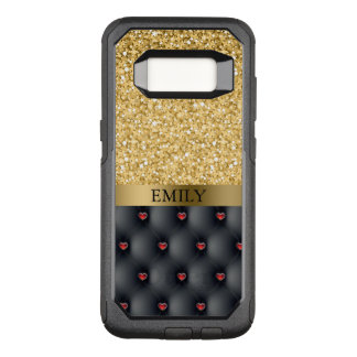 Modern Red Hearts And Gold Glitter Pattern OtterBox Commuter Samsung Galaxy S8 Case