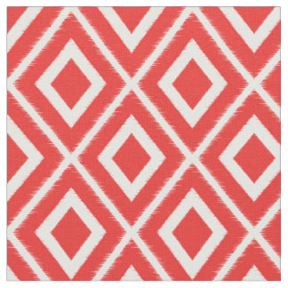 Modern Red Ikat Pattern Fabric