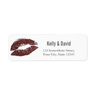 Modern Red Kiss Wedding Return Address Return Address Label