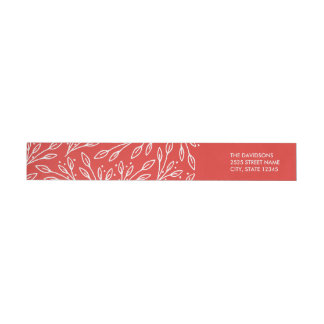 Modern Red Leaves Berries Wraparound Labels