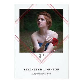 Modern Red Lines, Photo Graduation Card