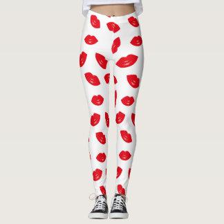Modern Red Lips Pattern Red Lipstick Leggings