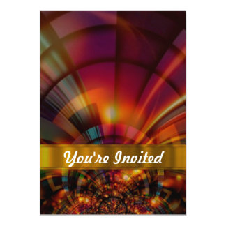 "Modern red & orange abstract 5"" x 7"" invitation card"
