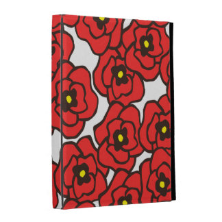 Modern Red Poppies Folio iPad Case