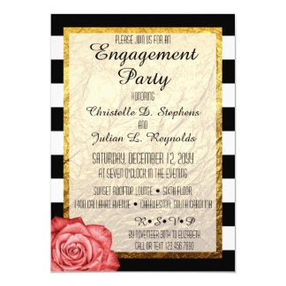Modern Red Rose Faux Gold Foil Engagement Party Card