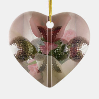 Modern Red Rose Glass Knob Light Pink Overlay Ceramic Heart Decoration