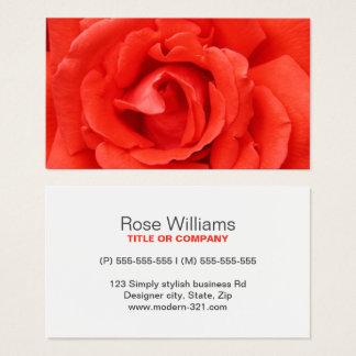 Modern red rose stylish elegant personal business card