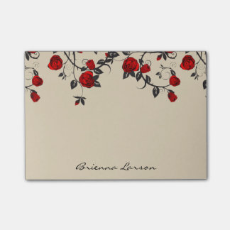 Modern Red Roses & Script Name Post-it Notes