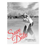 Modern Red Save the Date Photo Postcard