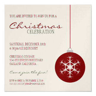 Modern Red Snowflake Bauble   Christmas Party Card