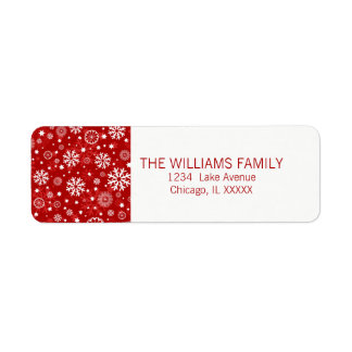 Modern Red Snowflake Holiday Return Address Label