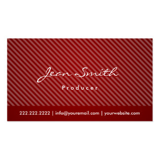 Modern Red Stripes Producer Business Card