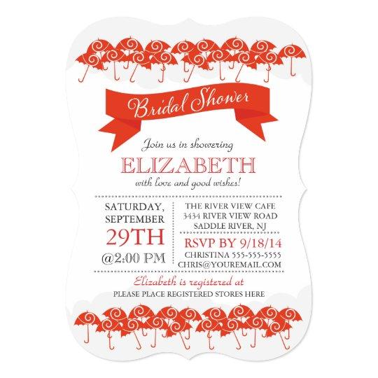 Modern Red Umbrella Bridal Shower Card